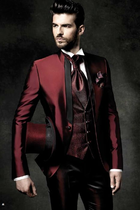 Latest Coat Pant Designs Burgundy Satin Shawl Lapel Formal Custom ...
