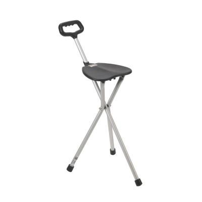 Drive Lightweight Folding Cane With Seat In Silver