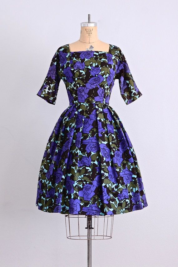BIG MAMA OPTION vintage 1950s party dress • floral print dress ...