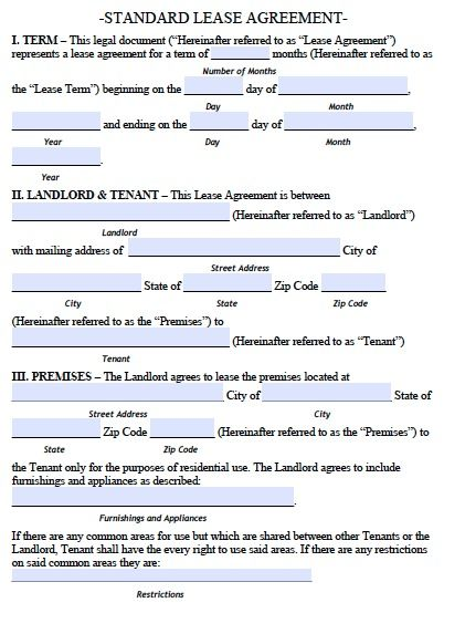 Printable Sample Lease Agreement Form Real Estate Forms Word - standard lease agreement