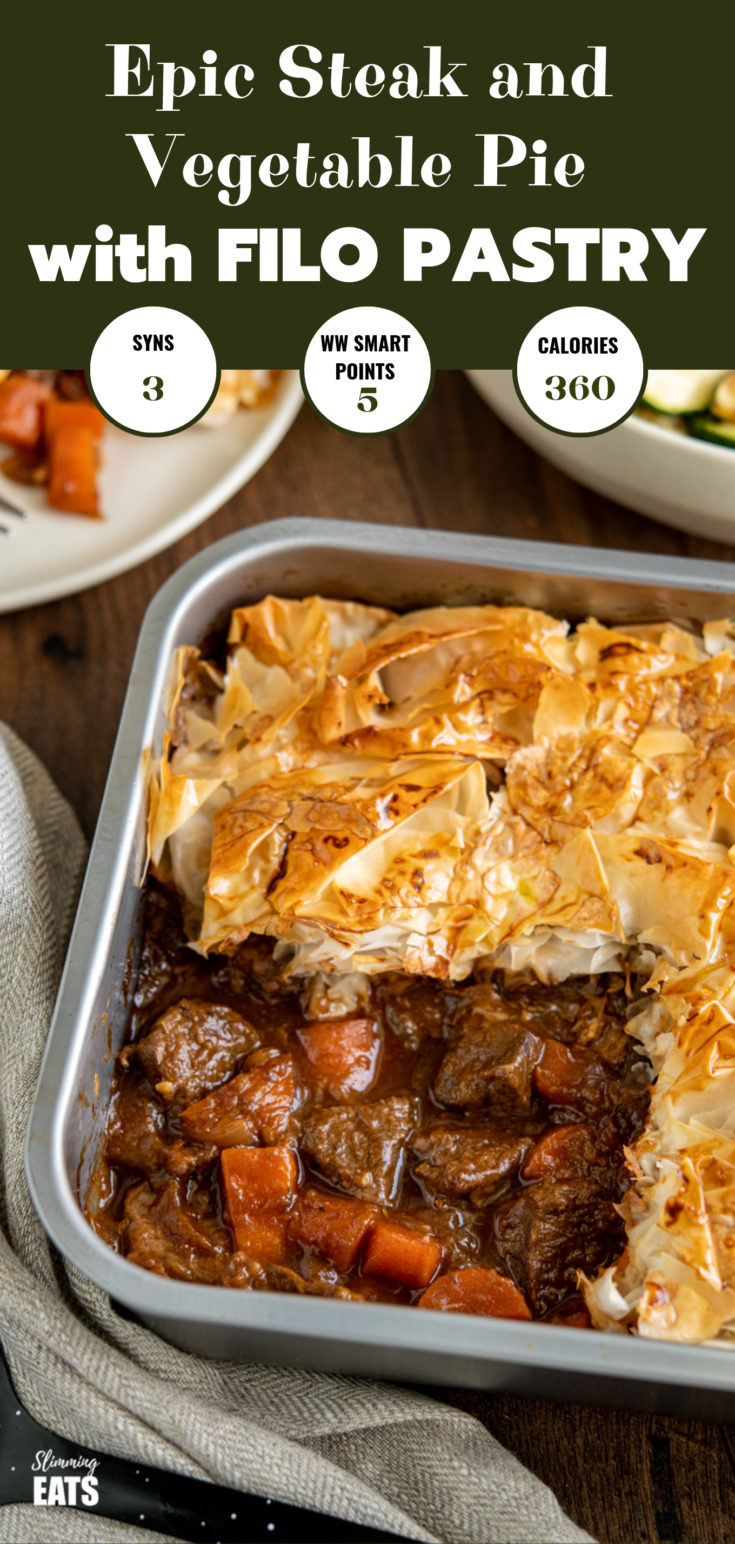 Epic Steak and Vegetable Pie with a delicious golden filo ...