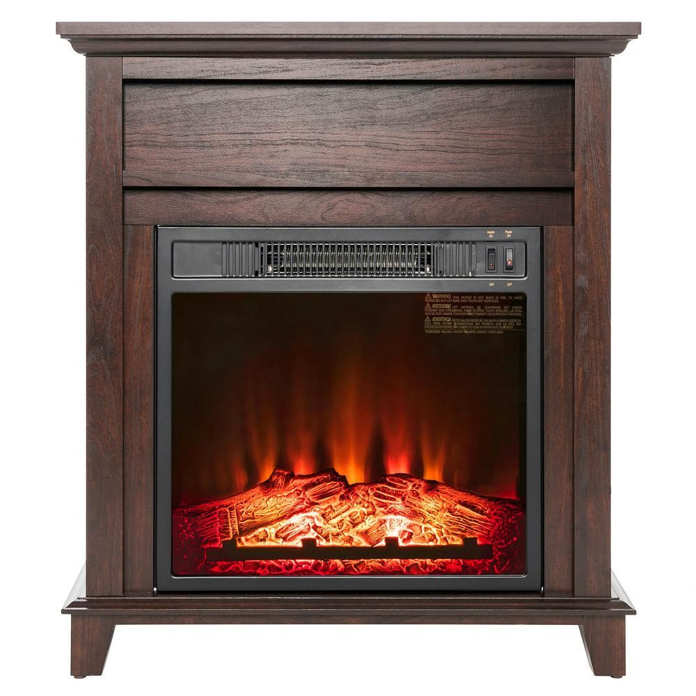 Akdy 27 In Freestanding Electric Fireplace Heater In Wooden Fp0095 The Home Depot In 2020 Free Standing Electric Fireplace Electric Fireplace Wood Burning Fireplace Inserts