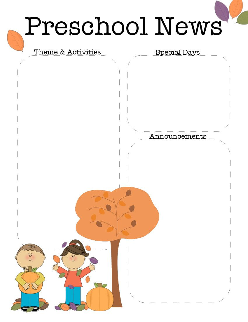 October Preschool Newsletter Template  Preschool Newsletter