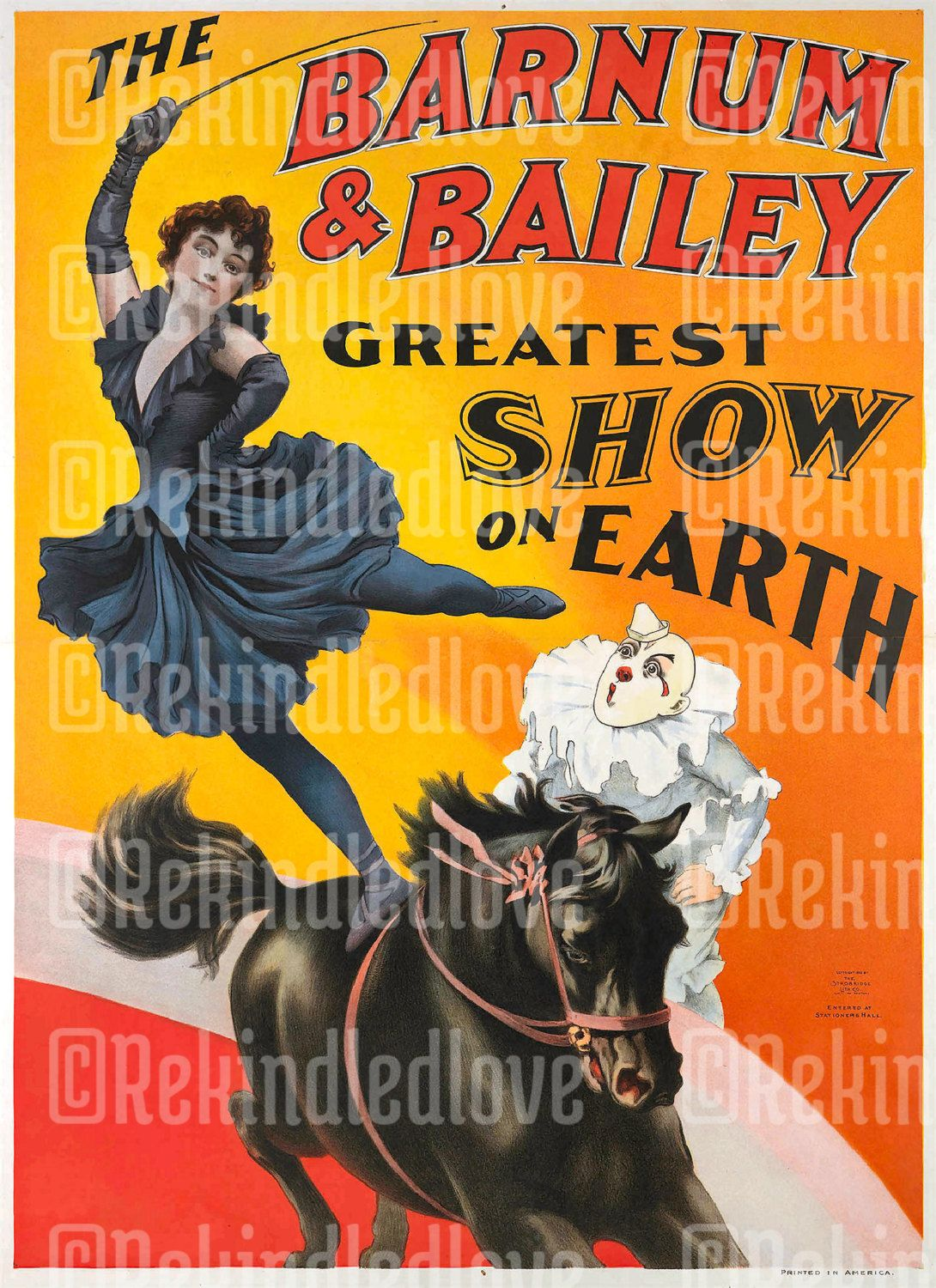 Vintage Victorian Circus Print \'The Barnum & Bailey\' Greatest Show ...