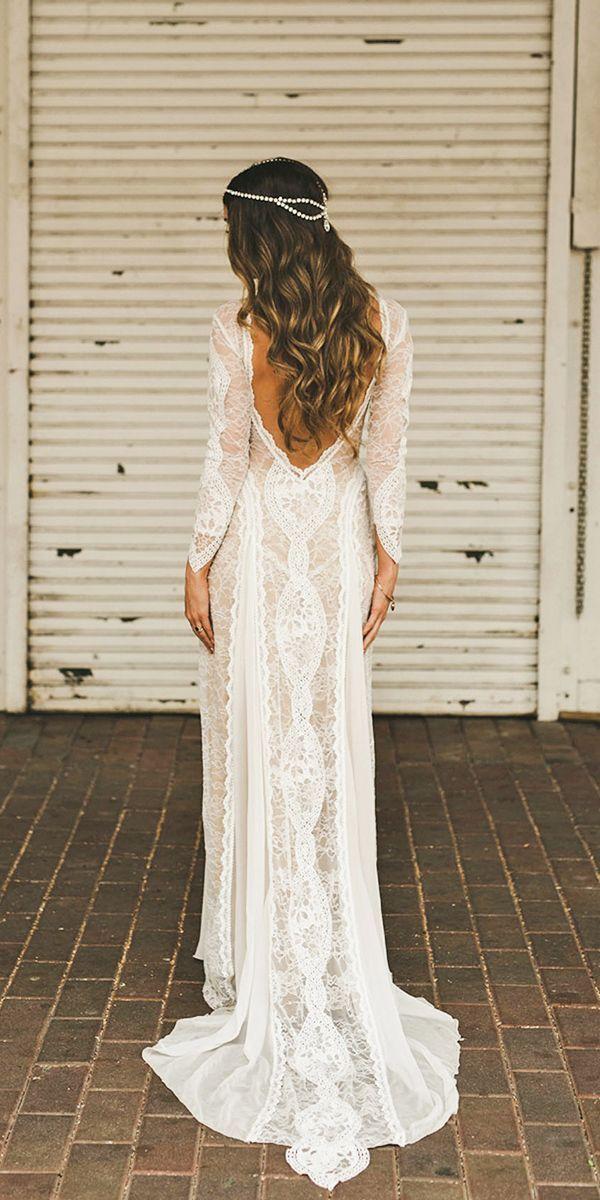 Low Back Boho Lace Wedding Dress