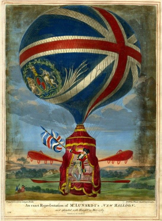 An exact representation of Mr Lunardis New Balloon as it ascended with himself 13 May 1785