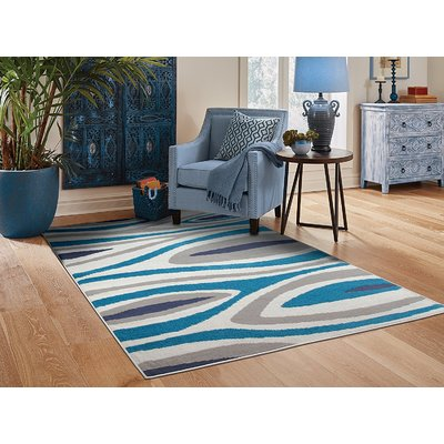 Ebern Designs Costantini Leaf Pattern Gray Blue Indoor Outdoor Area Rug Rugs In Living Room Contemporary Area Rugs Blue Area Rugs