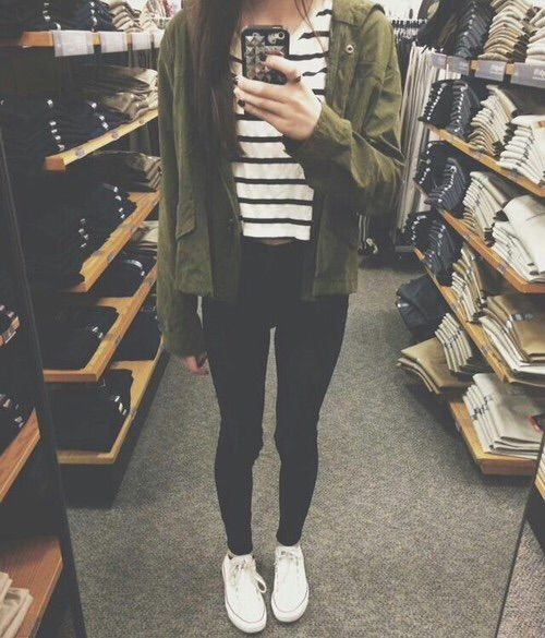 striped tee, black jeans, white converse, and an army green jacket