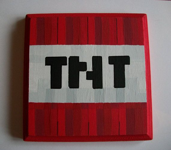 TNT Minecraft Wall Plaque Hand Painted Game Room Playroom Bedroom Home Wall  Decor