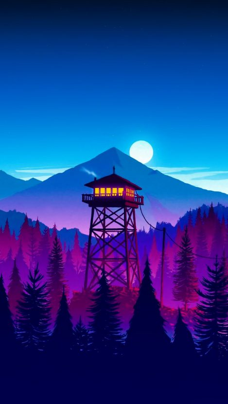 Cabin in Forest Firewatch iPhone Wallpaper Free