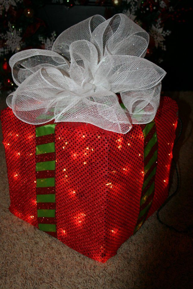 Gift Box Christmas Decorations How To Make A Lighted Christmas Box Decoration  Box Decorations