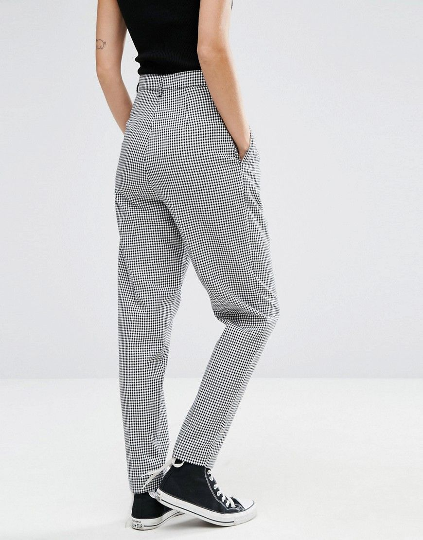 6b7309536226 High Waisted Peg Pants in Gingham Check | clothess | Peg trousers ...