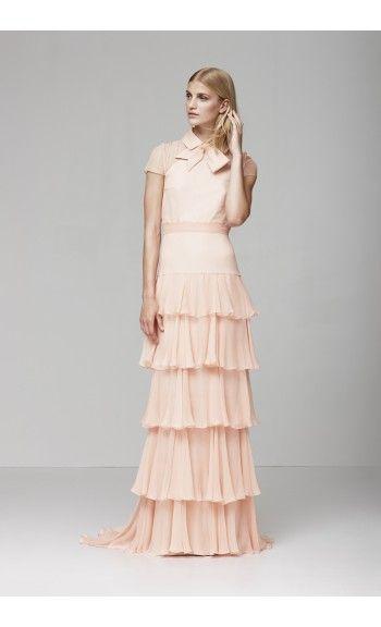 Shop Peach Ruffled Bernadette Dress By Yde At Mybeautifuldressing
