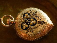RARE ANTIQUE WOMEN'S 1890'S SOLID 14K GOLD HEART SHAPED PENDANT POCKET WATCH