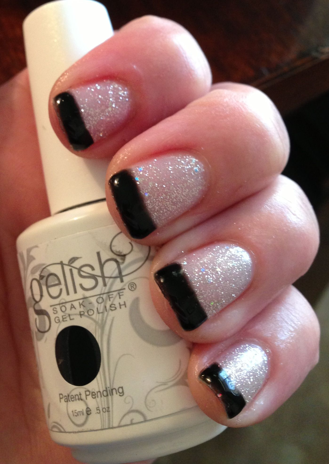gelish glitter and black french tip nails nails nails