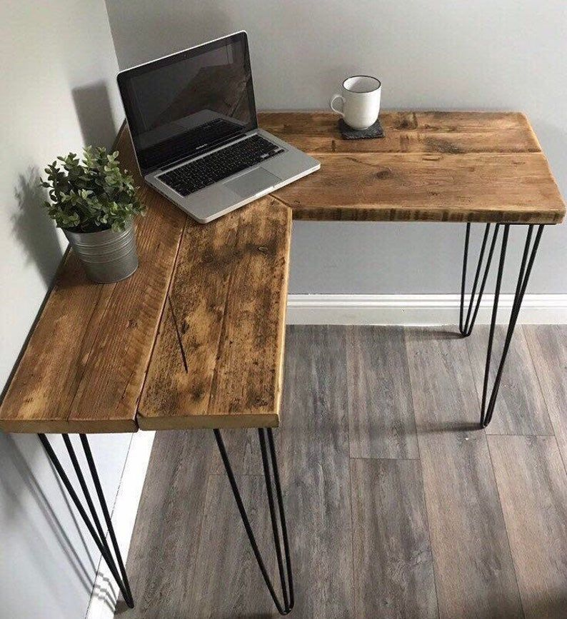 VICTORIA- Modern Rustic Industrial Reclaimed Scaffold Board Corner Desk With Hairpin Legs