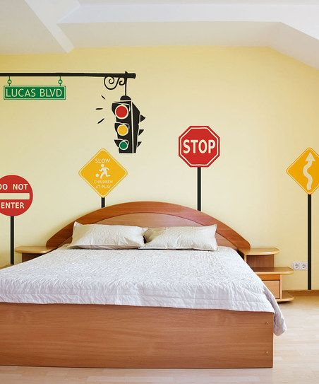 Sissy Little Black Traffic Personalized Wall Decal Set - Traffic light for bedroom