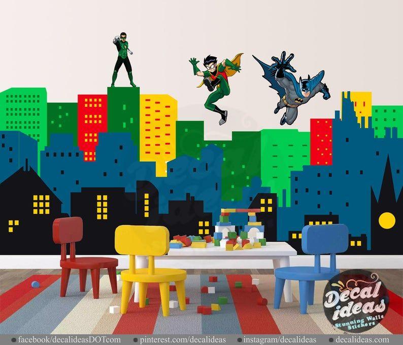 Superhero Wall Decal Batman Wall Decal Nursery Wall Decal Sticker City Skyline Batman Wall Decals In 2020 Superhero Wall Decals Nursery Wall Decals Superhero Wall