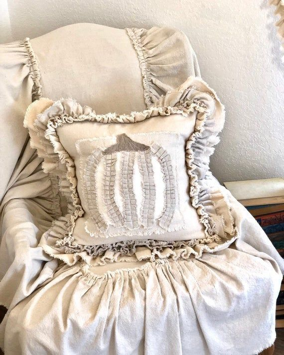 Custom Pillow Case with Ruffled PumpkinHandmade PillowFrench Country pillowFarmhouse Rustic pillo  Custom Pillow Case with Ruffled PumpkinHandmade PillowFrench Country pi...