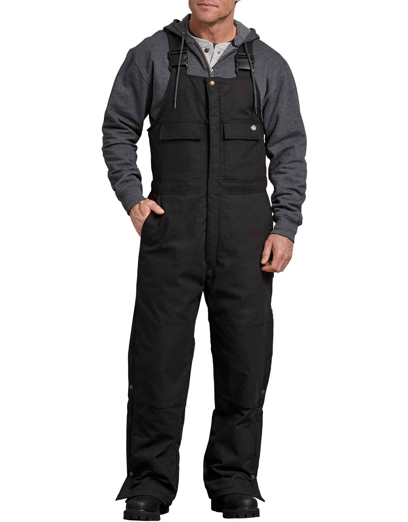 flex sanded duck insulated bib overalls black mens on insulated overalls id=55522