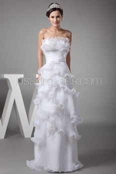 Sheath Scalloped-Edge Layer Pleated Organza Ball Gown With Hand-Made Flower