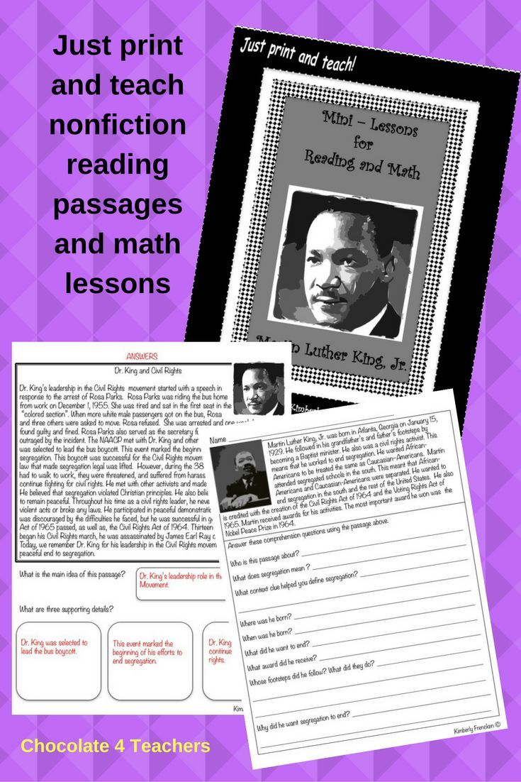 Martin Luther King, Jr. Mini-lessons: Non-Fiction Reading ...
