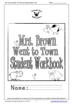 Mrs. Brown Went to Town Student Workbook (With images