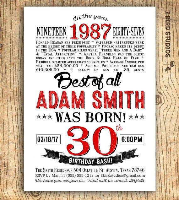 30th birthday invitation Surprise 30th birthday party invitation – Surprise 30th Birthday Party Invitations