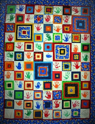 Hand Print Quilt Kid Painting With Fingers Toes Quilts
