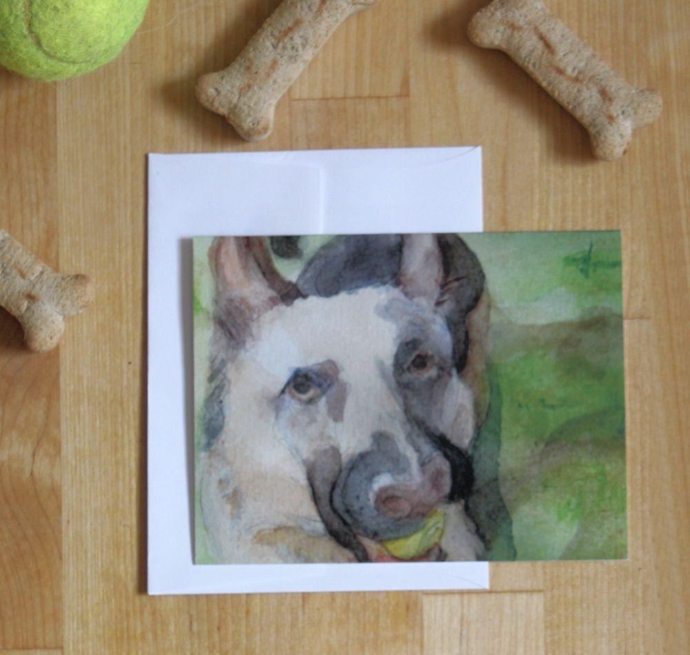 German Shepherd Watercolor Note Card Blank Dog Notecard Animal Lover