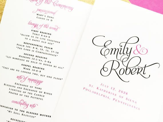 THIS LISTING IS FOR 25 BIFOLD WEDDING PROGRAMS INCLUDING 25