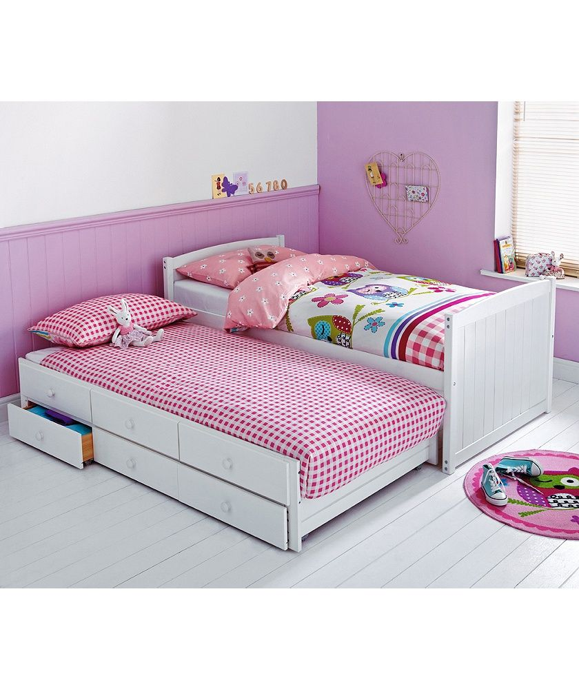 Childrens Beds With Pull Out Bed Underneath Buy Frankie White Cabin And Trundle Bed With Ashley Mattress At
