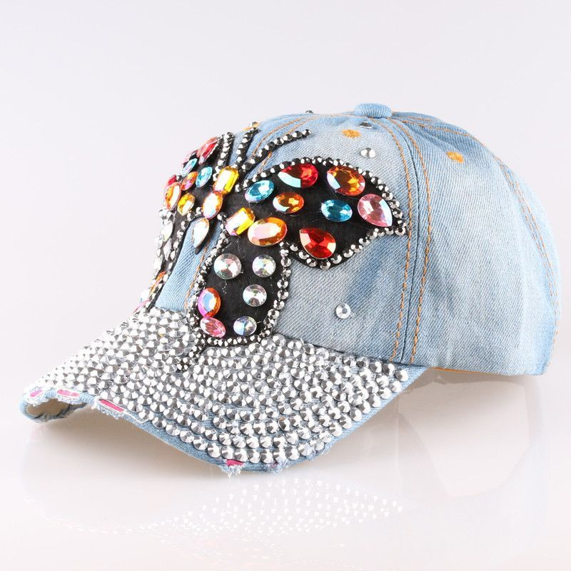299ee22e6c High quality Full Crystal Colorful Big Butterfly Denim Baseball Cap ...