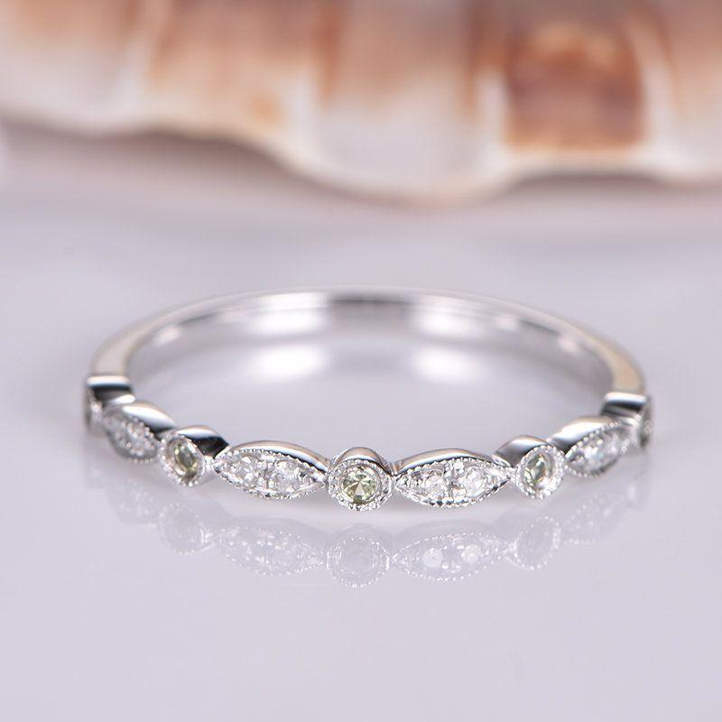 Milgrain Diamond Peridot Wedding Band Solid 14k White Gold Etsy Wedding Ring Bands Pave Diamond Wedding Bands Diamond Wedding Bands
