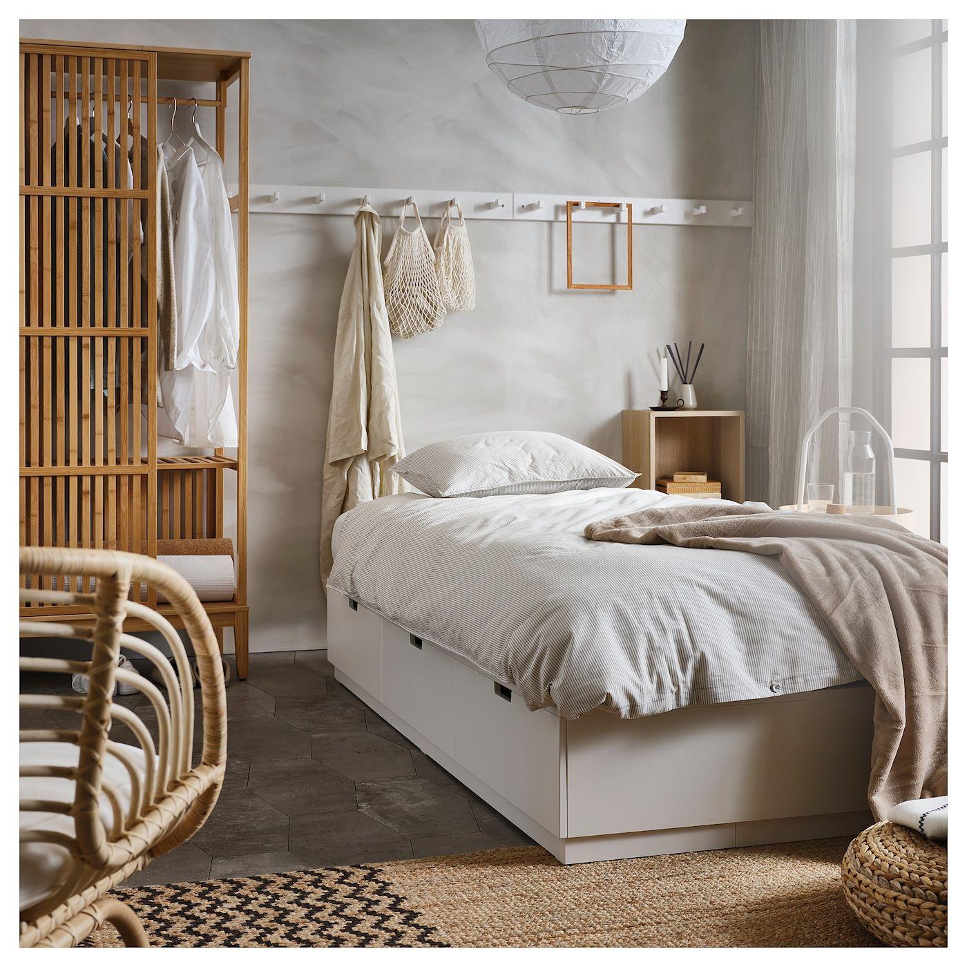 Nordli Sangstomme Med Forvaring Vit 120x200 Cm Ikea In 2020 Bed Frame With Storage Bed Frame Bed Storage