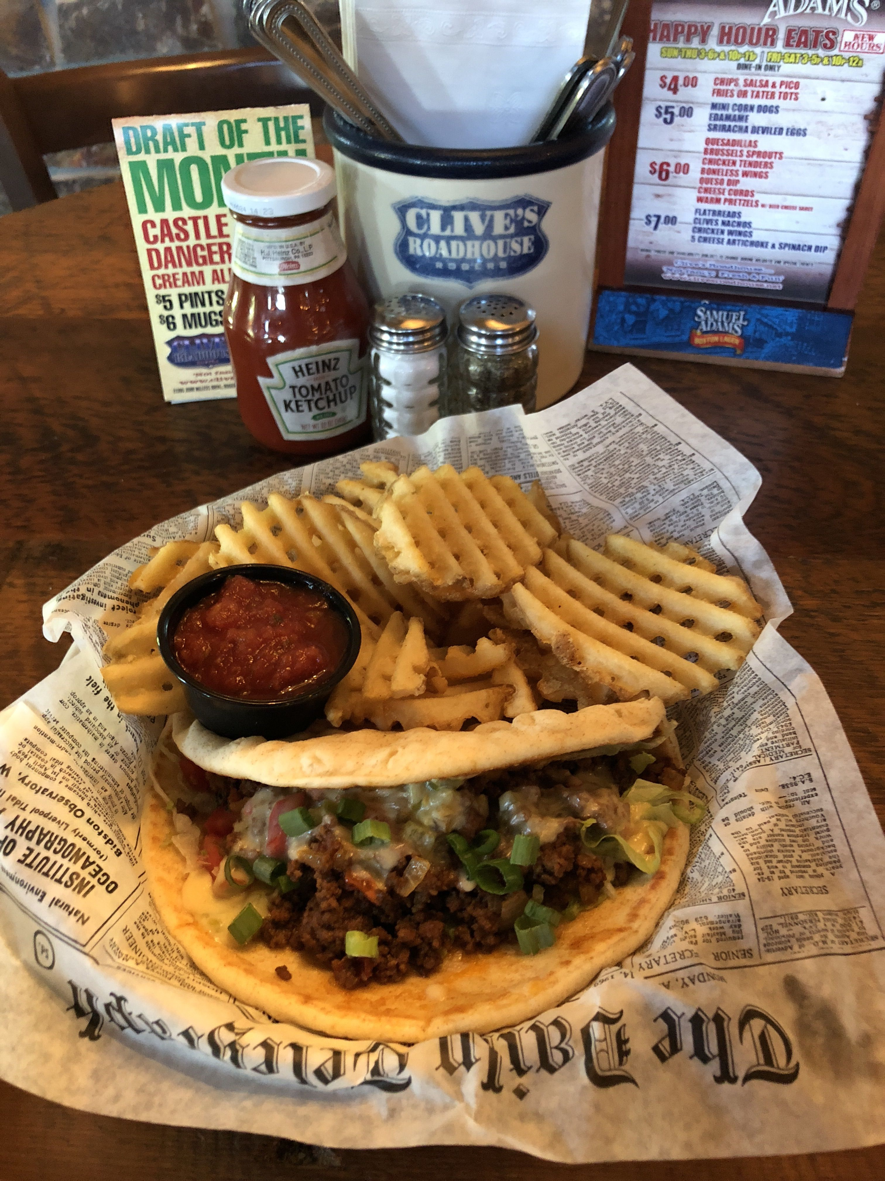 Today S Lunch Special Is A Taco Pita Food Clivesroadhouse Foo Goodfood Dining Restaurants
