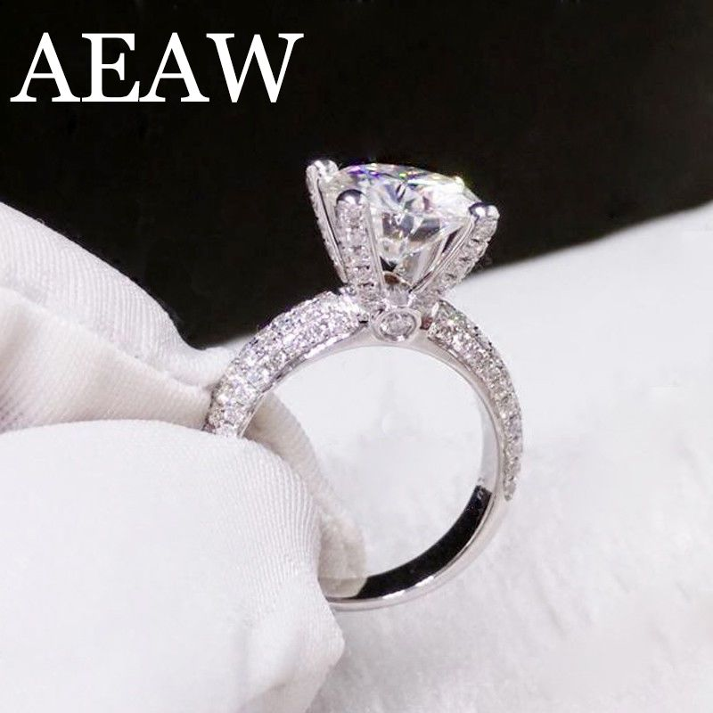 52515e501183b Solid 14K White Gold 3.0ct 9mm Round Cut DF Moissanite Engagement ...