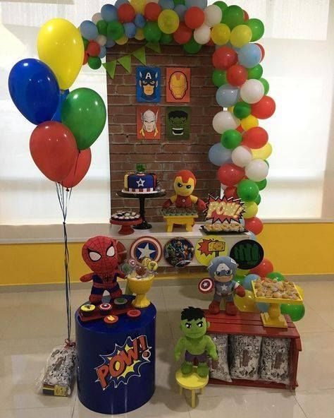 Decoración Fiesta De Avengers Marvel Birthday Party Avengers Party Decorations Avenger Birthday Party