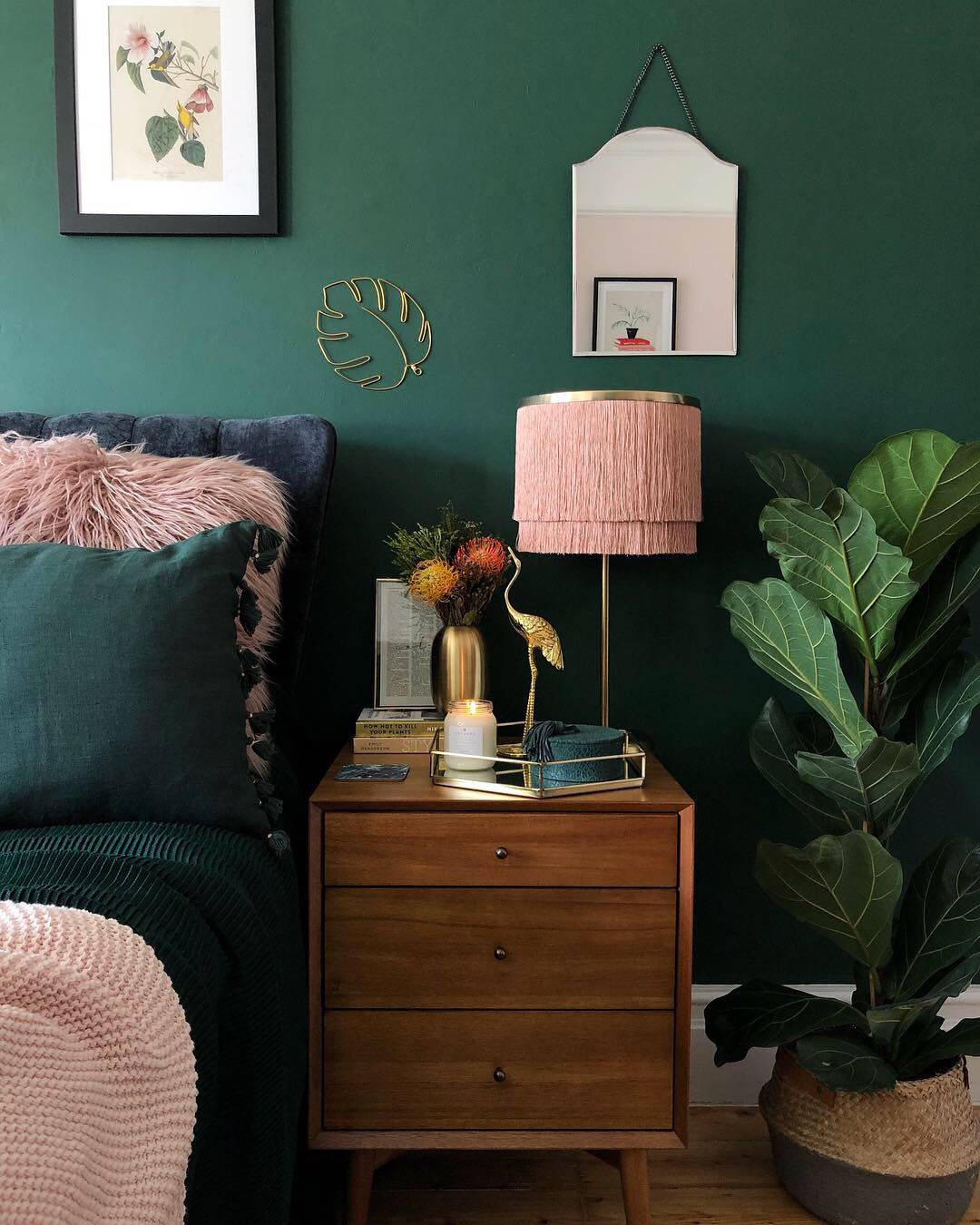Dark Green And Blush Pink Decor In Bedroom With Mid Century Twist