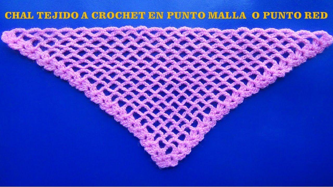 Chal tejido a crochet en punto malla o red # 6   crochet   Pinterest ...