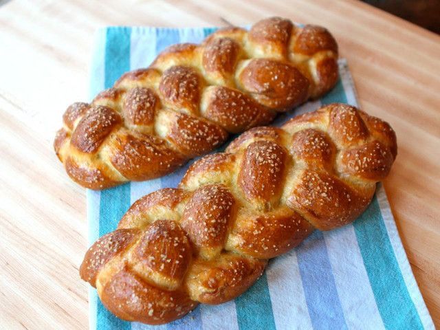 Pretzel Challah - Recipe for eggy, fluffy braided challah with a salty pretzel coating. Doesn't get much better than this!