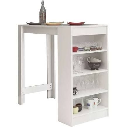 Symbiosis Table De Bar Avec Rangement 4 Etageres Blanc Snow Table Bar Furniture White Bar Table Table Storage