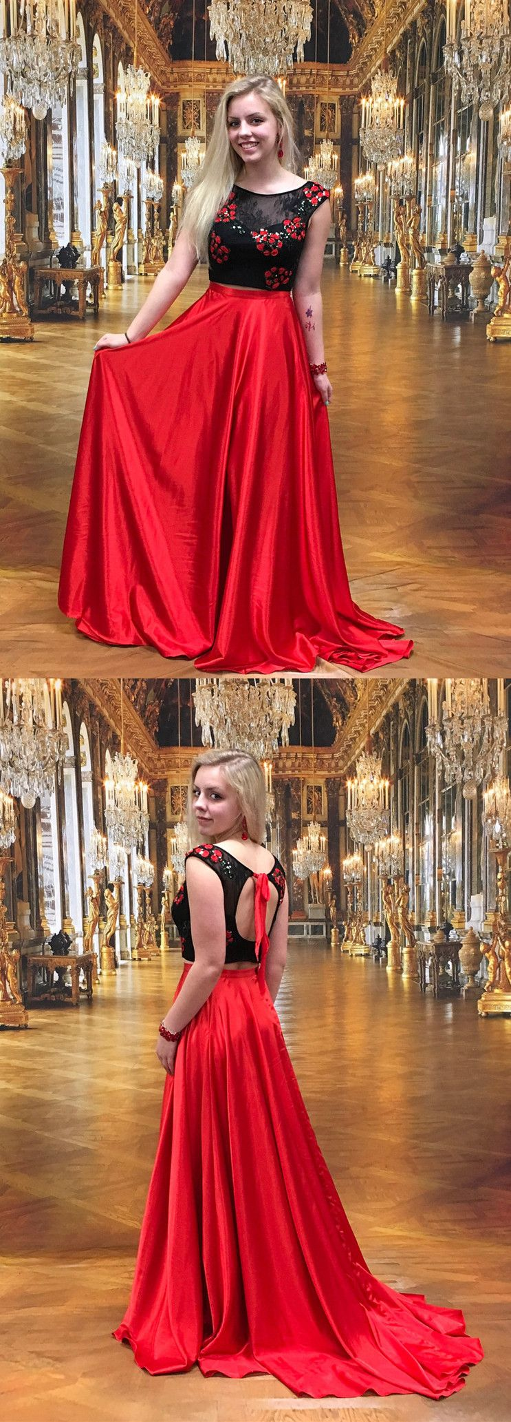 Two piece long prom dress black and red long prom dress prom