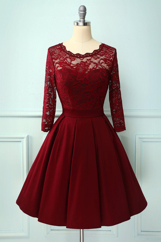 Burgundy V Back Long Sleeves Dress