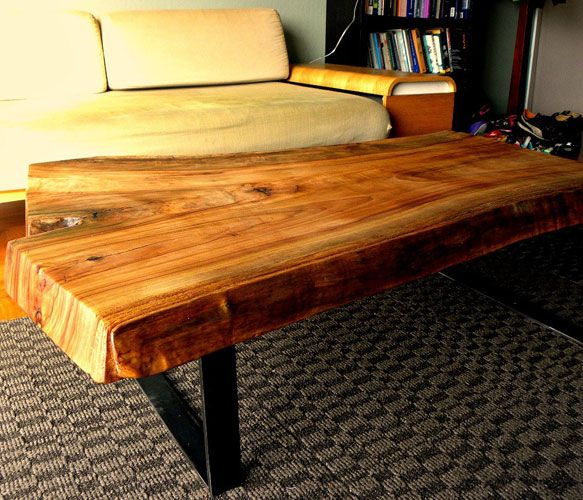 Cedar Slab Coffee Table By 265 Design Live Edge Slab Of Cedar Mounted To Custom Fabricated Steel