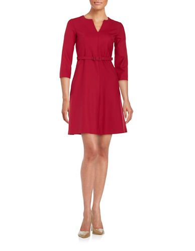 e0c12bed33 Weekend Max Mara Sabbia Belted A-Line Dress Women s Dark Red 12 ...