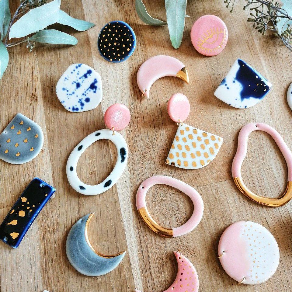 Porcelain earrings heart earrings ceramic earrings grey | Etsy
