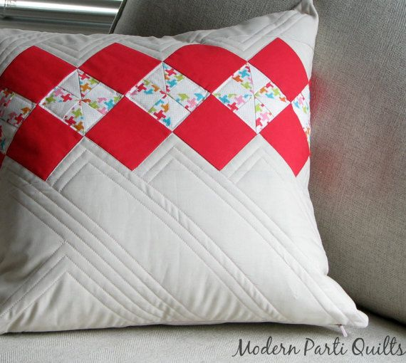 Argyle Pinwheel Pillow Cover / Grey and Pink Pillow Sham / fits 18 inch insert, READY TO SHIP