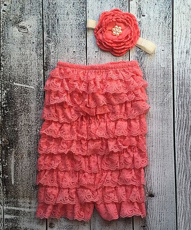 Love this Coral Lace Ruffle Romper & Flower Headband - Infant on #zulily! #zulilyfinds