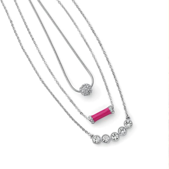Layering necklaces: Delicate silver styles with a pop of color.